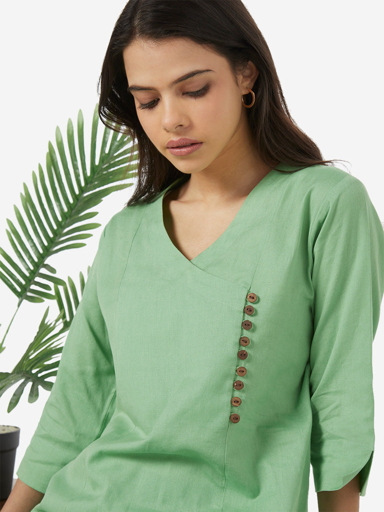 Utsa Mint Button-Detailed A-line Kurta