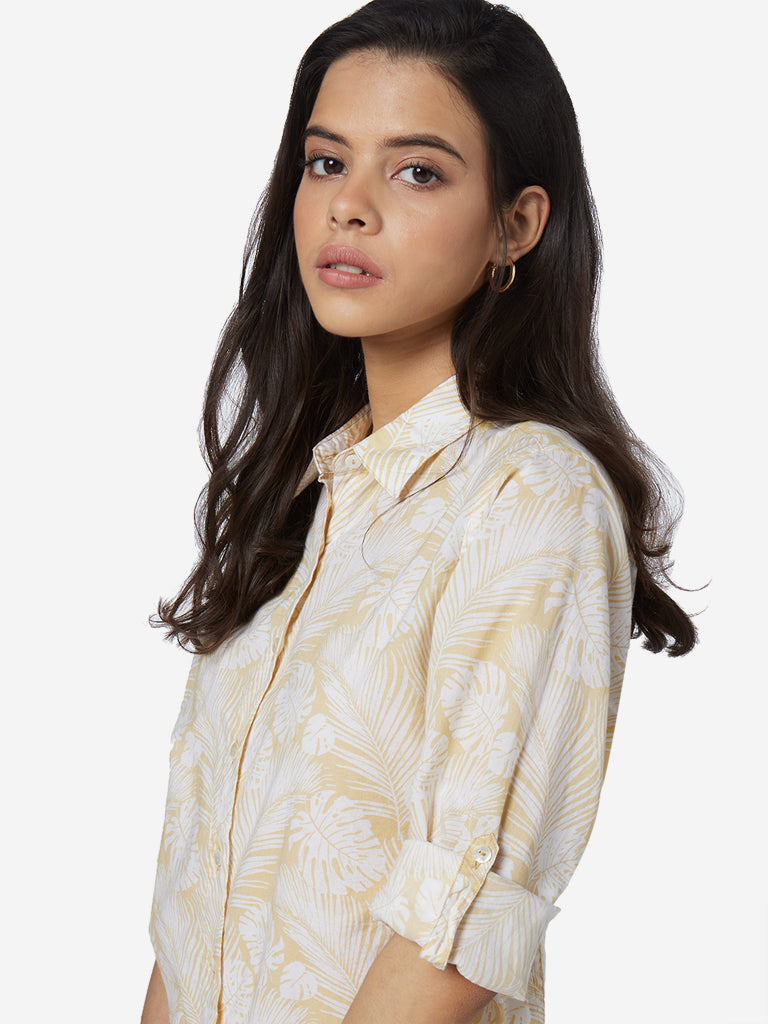 Utsa Light Yellow Leaf Printed A-line Ethnic Shirt