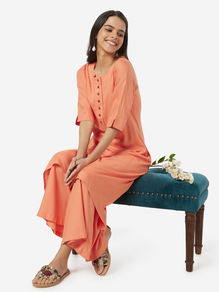 Utsa Orange High-Low Kurta