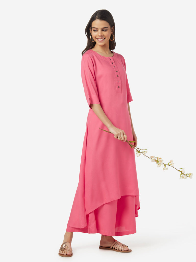 Utsa Pink High-Low Kurta