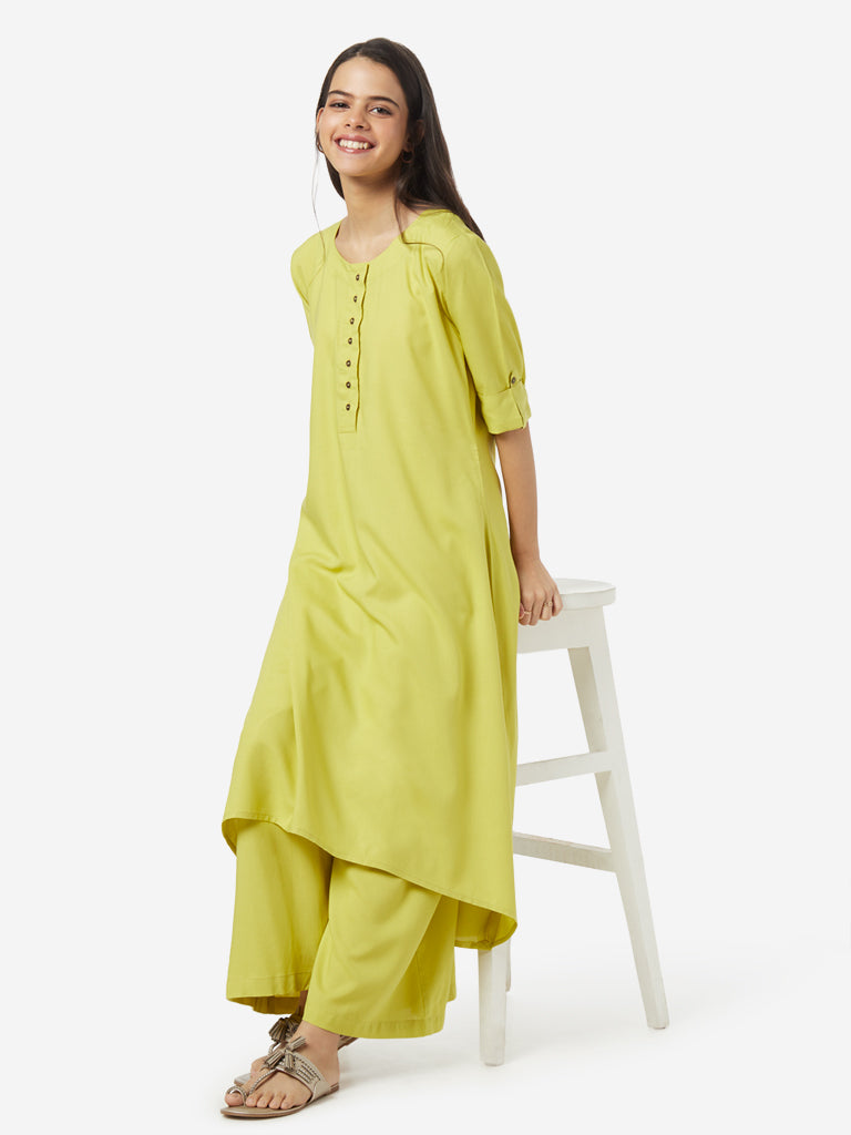 Utsa Lime High-Low Kurta