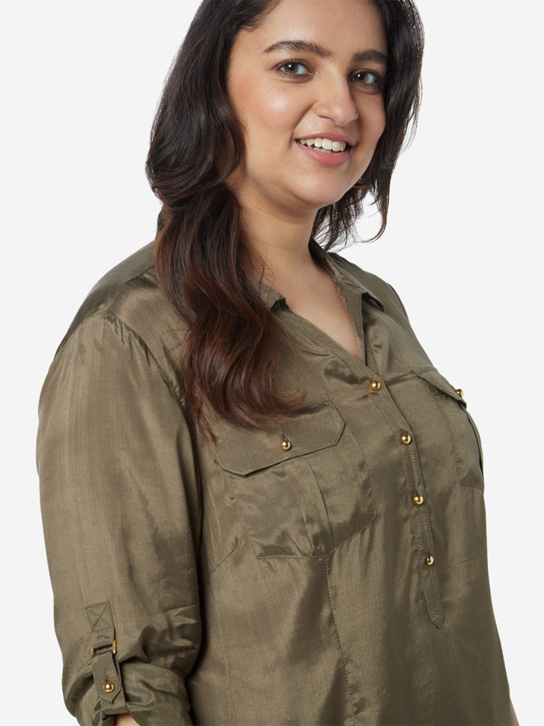 Gia Curves Olive Nora Shirt