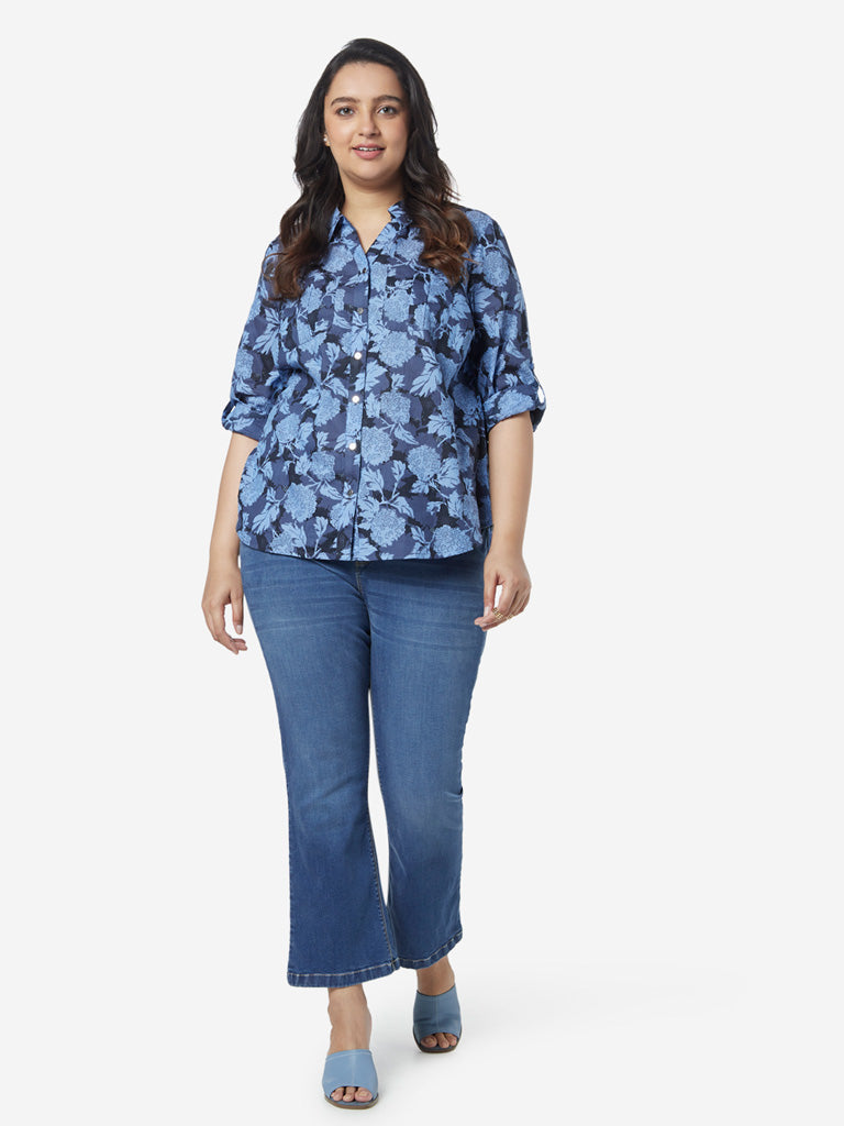 Gia Curves Blue Floral Pattern Shirt