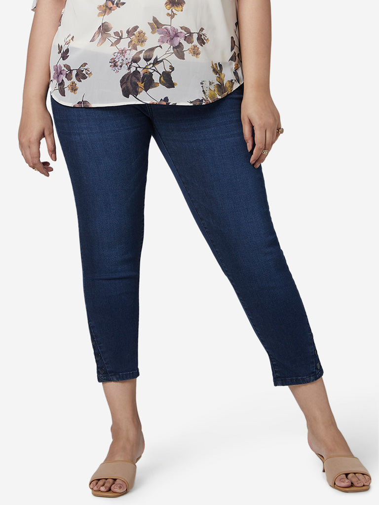 Gia Curves Dark Blue Snappy Cropped Jeans