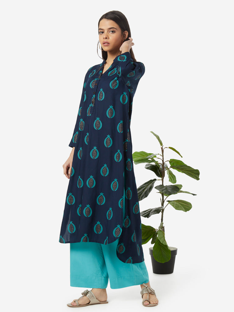 Utsa Indigo Pomegranate Print High-Low Kurta