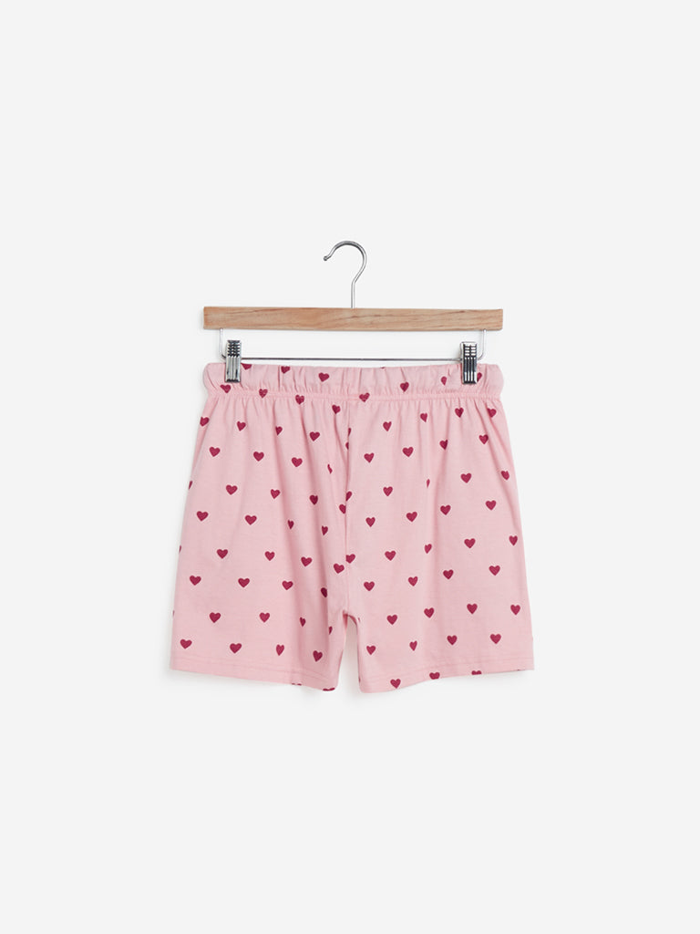 Wunderlove Light Pink Heart Print Shorts