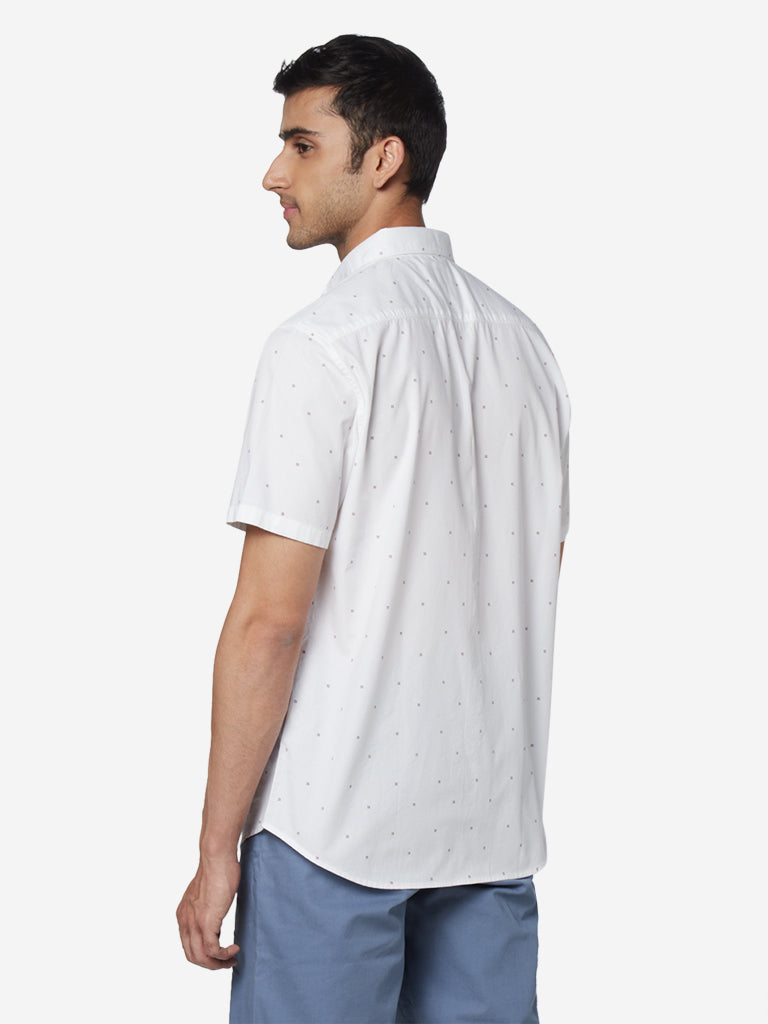 WES Casuals White Relaxed Fit Casual Shirt
