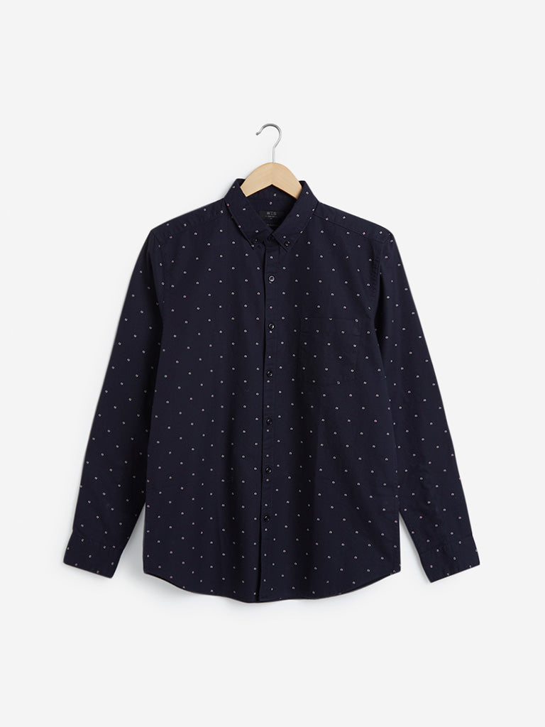 WES Casuals Navy Printed Slim-Fit Shirt