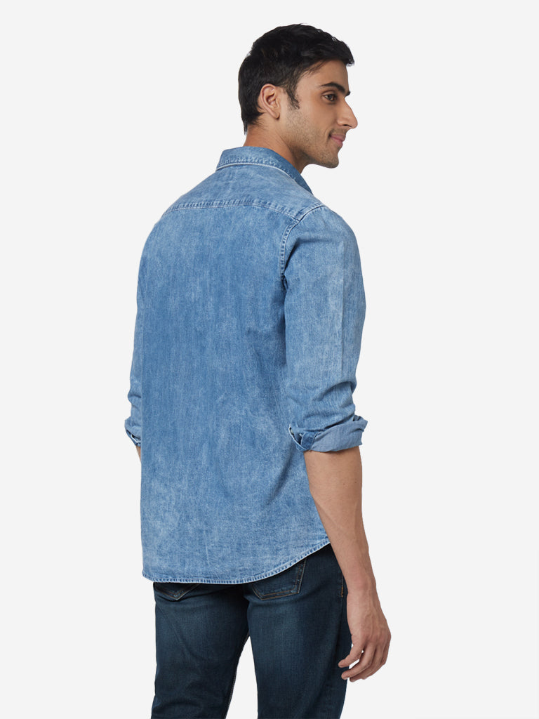 WES Casuals Blue Slim Fit Chambray Shirt