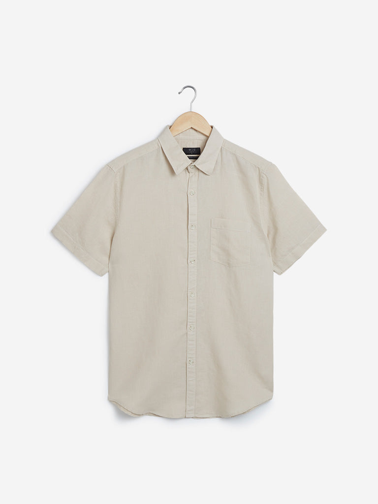 WES Casuals Beige Slim-Fit Casual Shirt