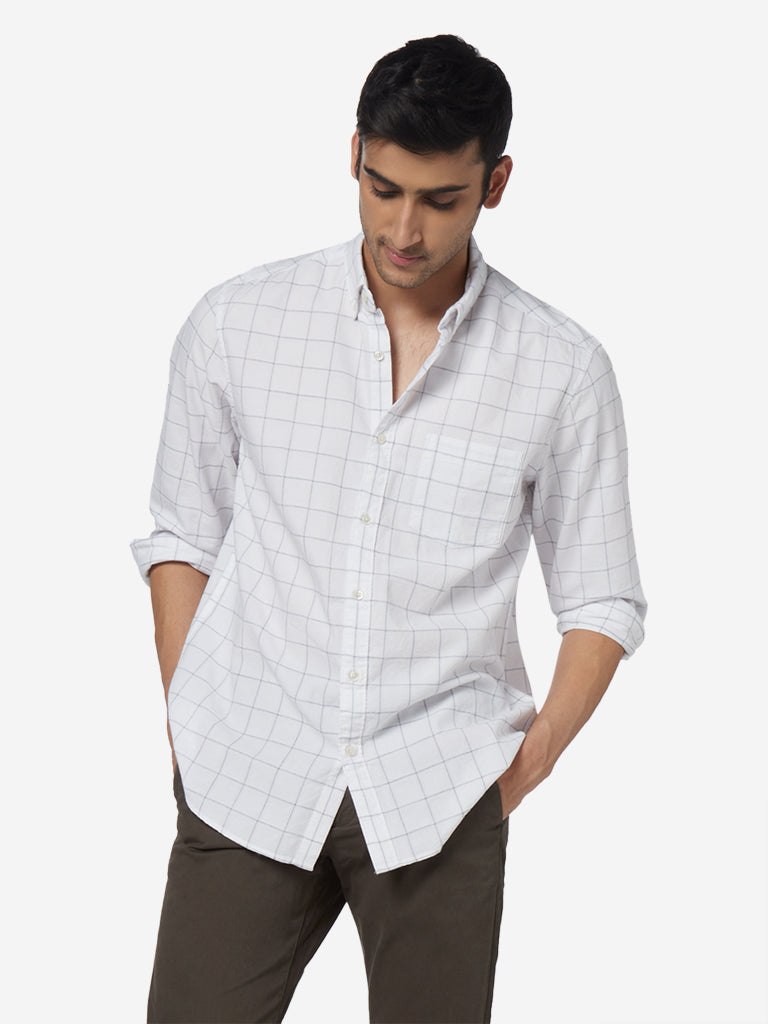 WES Casuals White Checkered Relaxed Fit Shirt