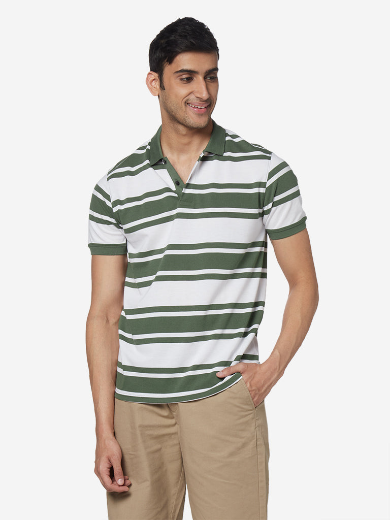 WES Casuals Olive Slim Fit Striped Polo Shirt