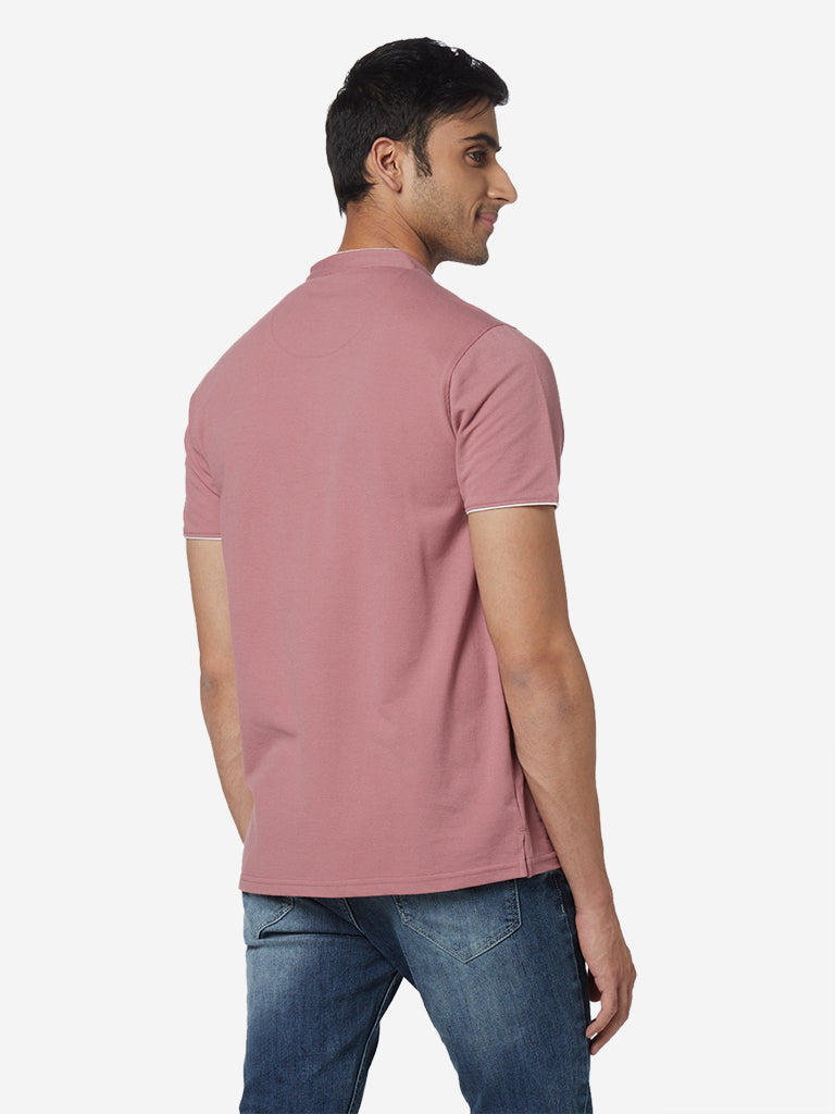 WES Casuals Pink Slim Fit Band-Neck T-Shirt