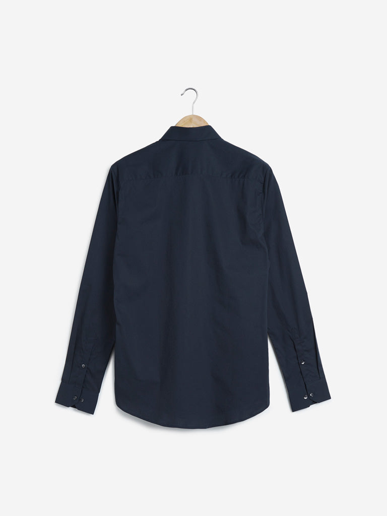 WES Formals Navy Ultra-Slim Fit Shirt