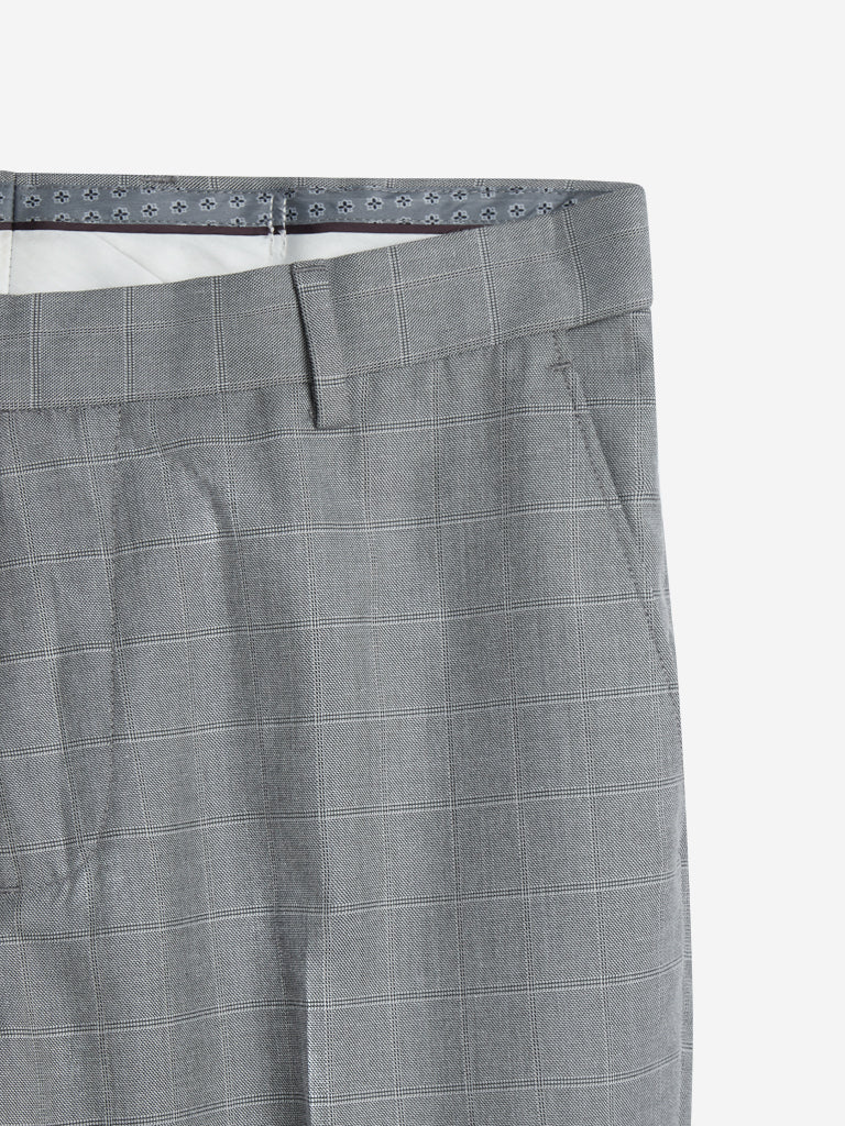 WES Formals Grey Checked Relaxed Fit Trousers