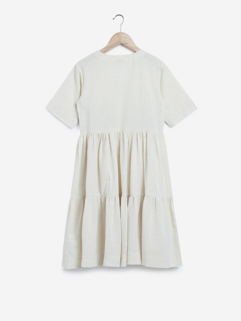 Utsa Kids Off White Embroidered Tiered Dress
