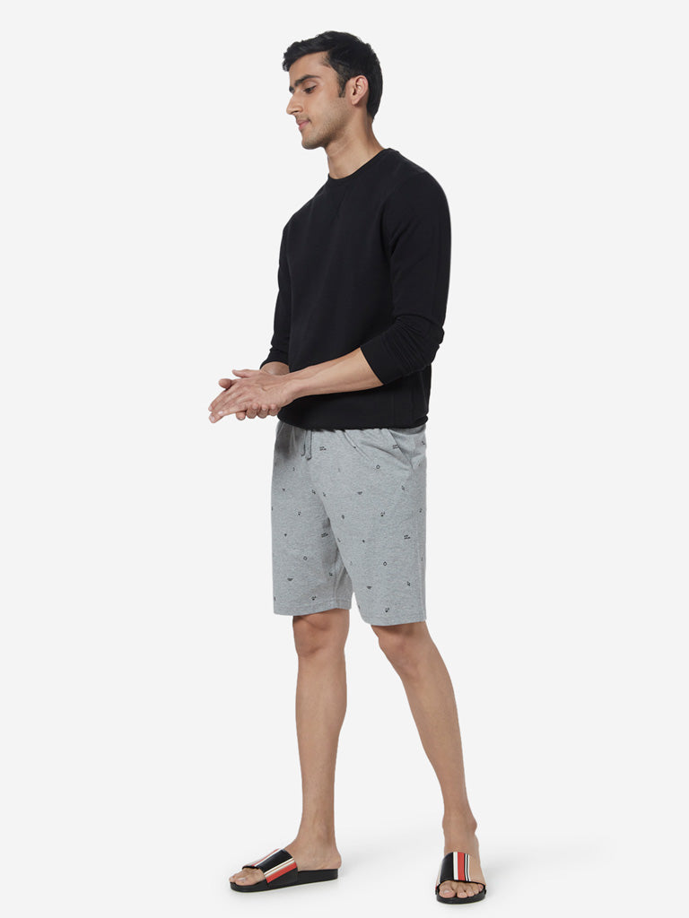 WES Lounge Grey Melange Relaxed-Fit Shorts