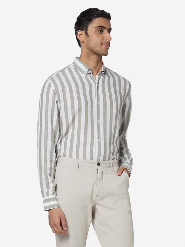 Ascot Olive Striped Relaxed Fit Shirt