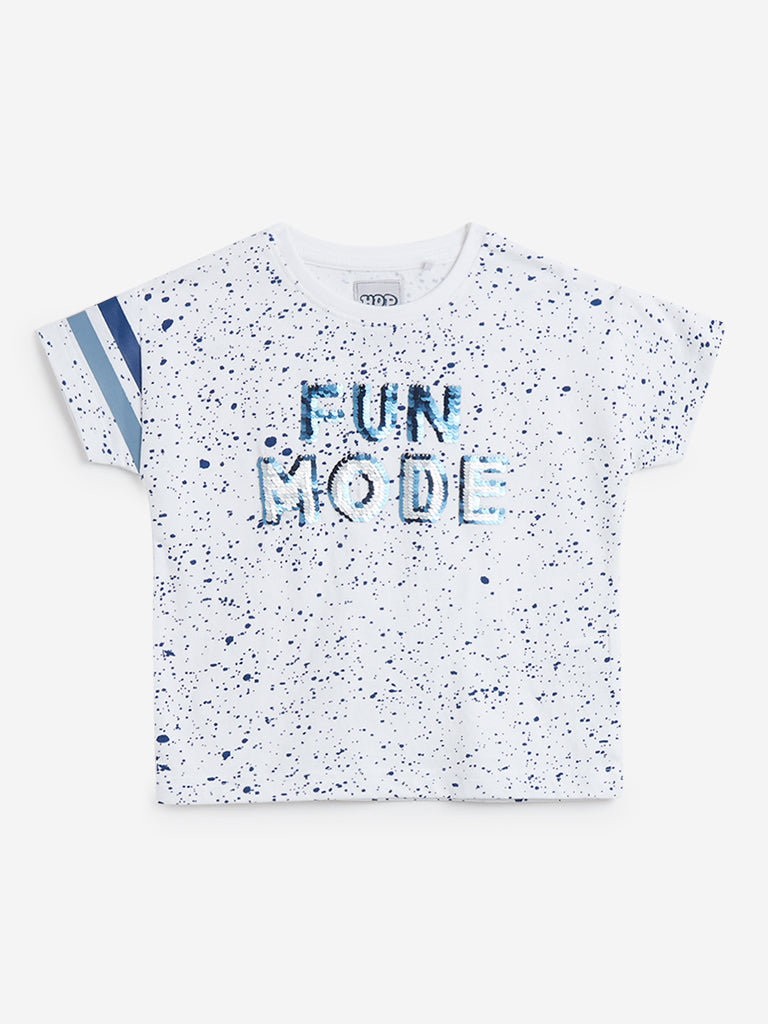 HOP Kids White Printed Crewneck T-Shirt