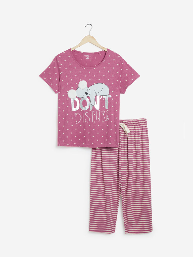 Wunderlove Pink Printed T-Shirt and Capris Set