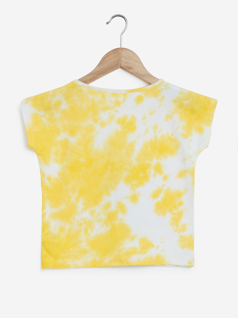 Y&F Kids Yellow Tie-Dyed Sequinned T-Shirt