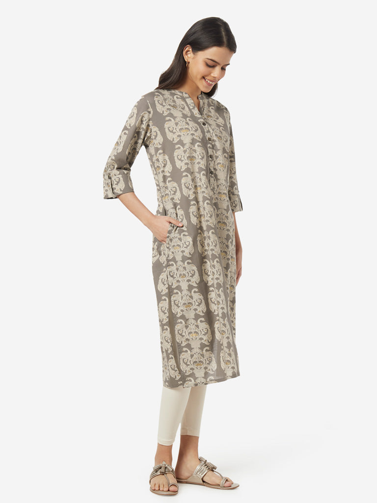 Utsa Light Grey Peacock Print Straight Kurta
