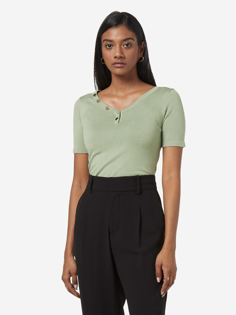Wardrobe Sage Green Knitted Top