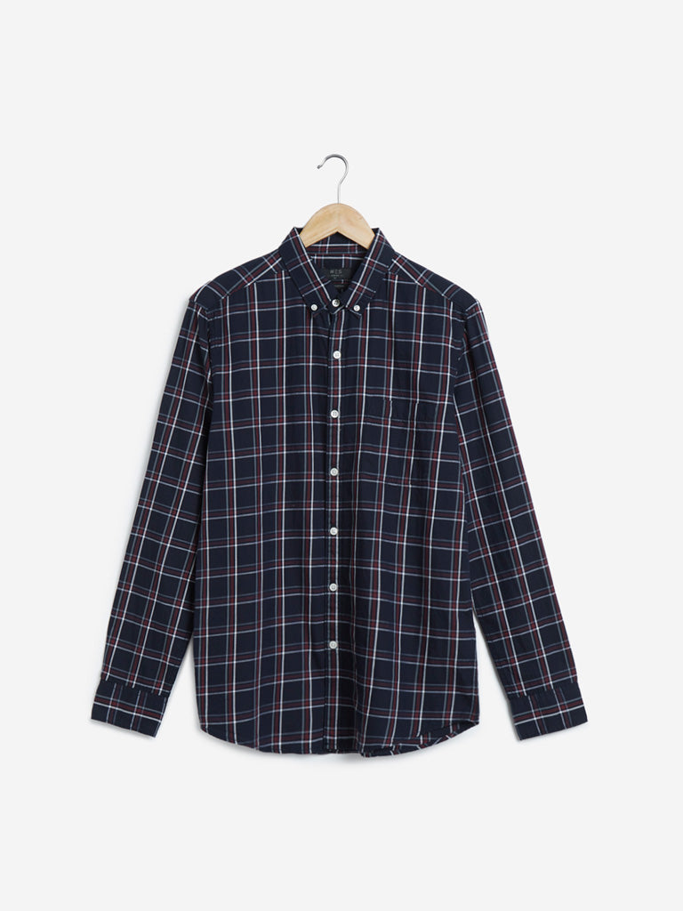 WES Casuals Navy Checkered Slim Fit Shirt