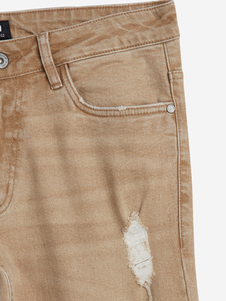 Nuon Beige Carrot Fit Rodeo Crop Jeans