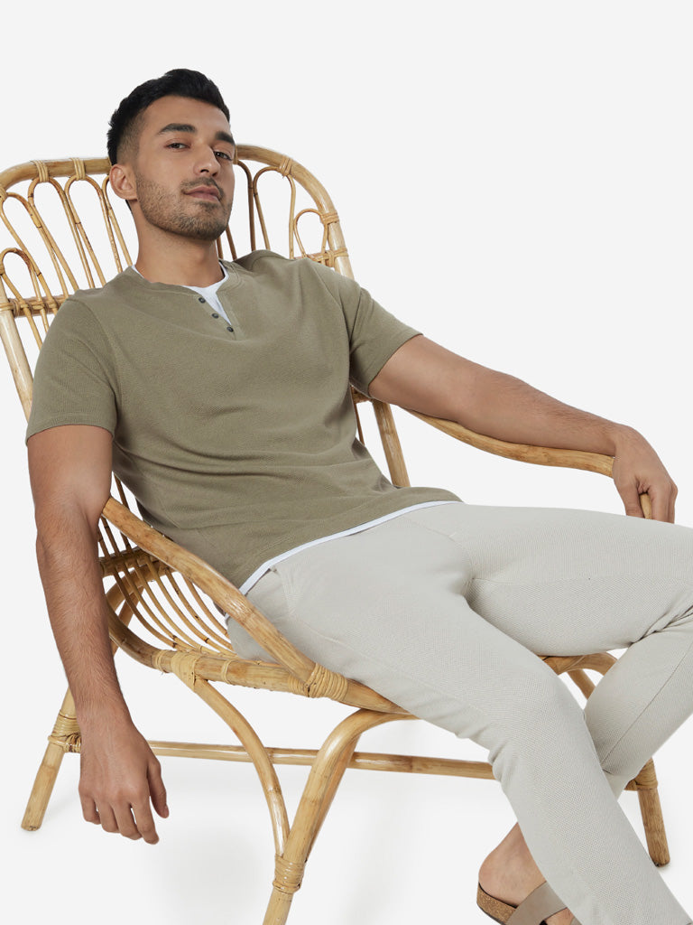 ETA Sage Green Slim Fit Textured T-Shirt