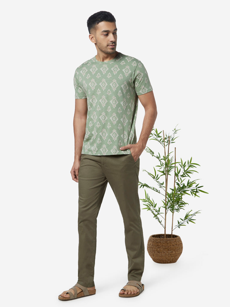 ETA Sage Green Slim Fit Geometrical Design T-Shirt