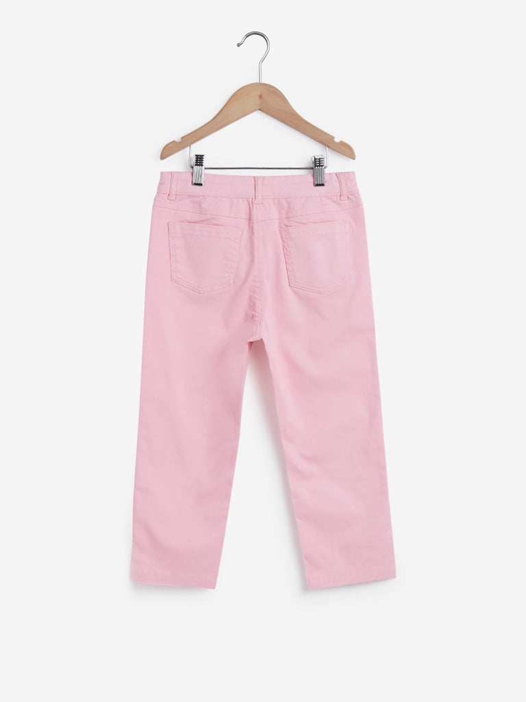 Y&F Kids Light Pink Sequinned Capris