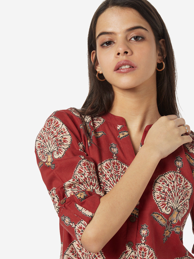 Utsa Red Printed Straight Kurta