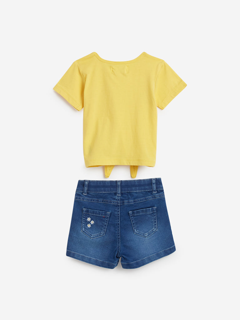 Baby HOP Yellow Printed Top And Denim Shorts Set