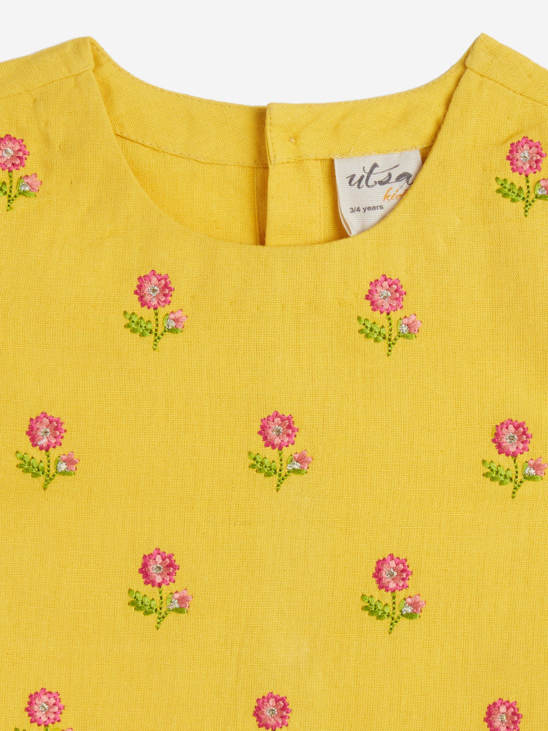 Utsa Kids Yellow Floral Embroidery Crop Top