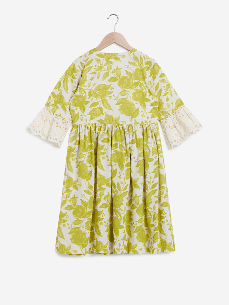 Utsa Kids Lime Fit-And-Flare Floral Dress