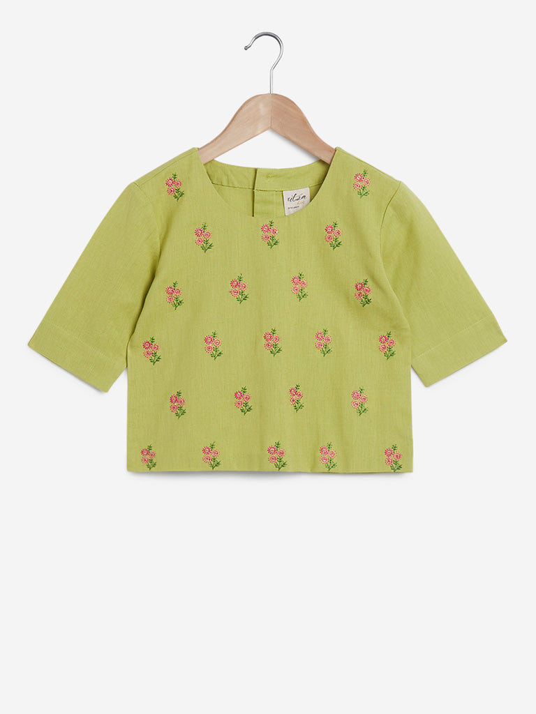 Utsa Kids Lime Crop-Top