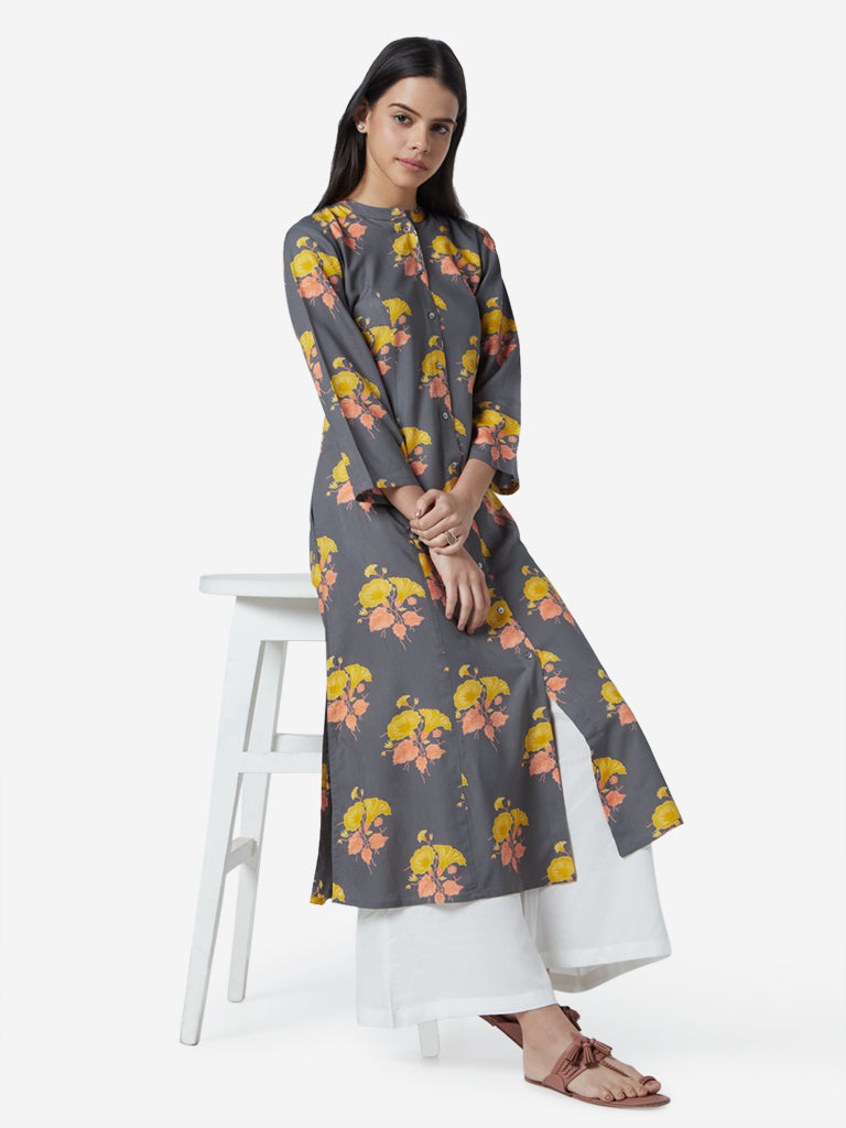 Utsa Grey Floral Patterned A-line Kurta