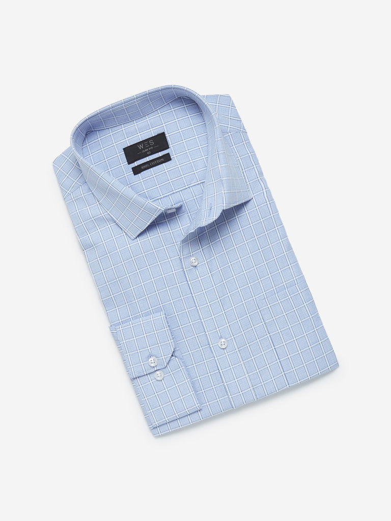 WES Formals Blue Slim Fit Check Formal Shirt