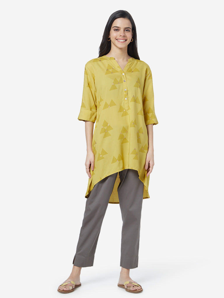 Utsa Mustard Triangle Print High-Low Kurti