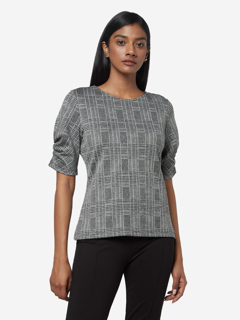 Wardrobe Black Checkered Adisa Top