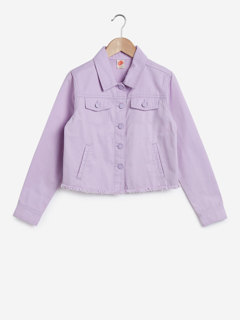 Y&F Kids Lilac Pure Cotton Frayed Jacket
