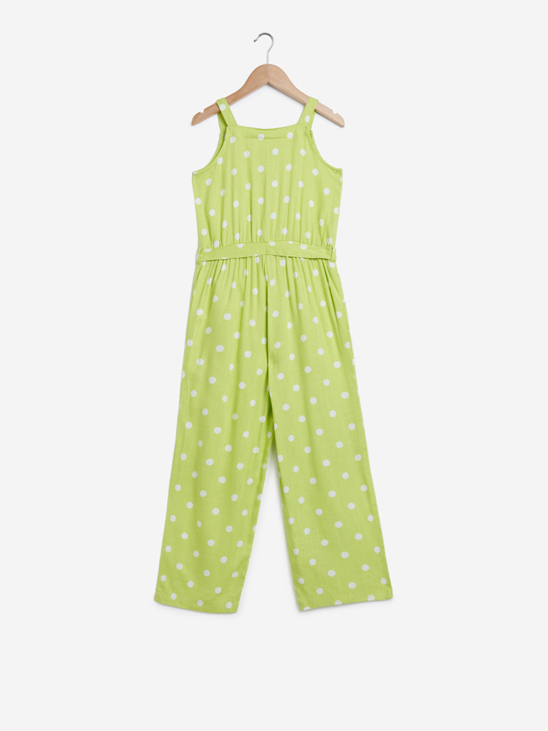 Y&F Kids Lime Polkadot Print Jumpsuit With Belt