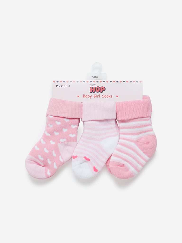 Baby HOP Pink Striped Girls Socks Pack Of Three