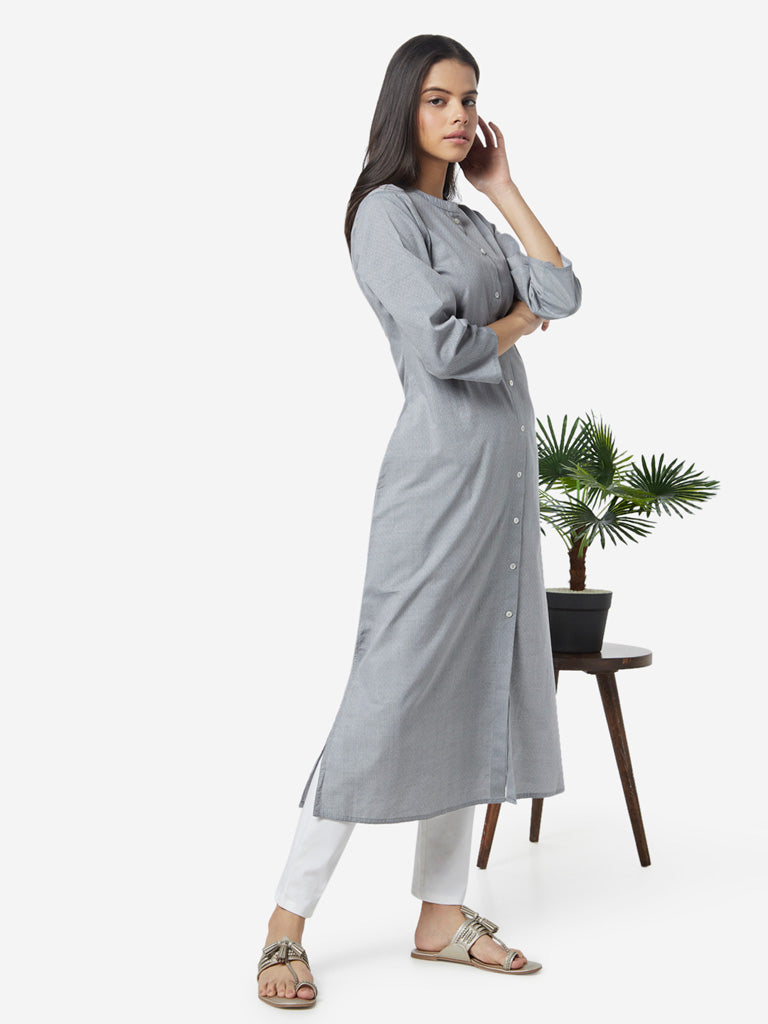 Utsa Grey Self-Patterned A-line Kurta