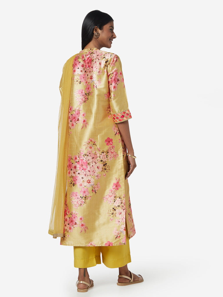Vark Yellow Floral Kurta and Palazzos Set