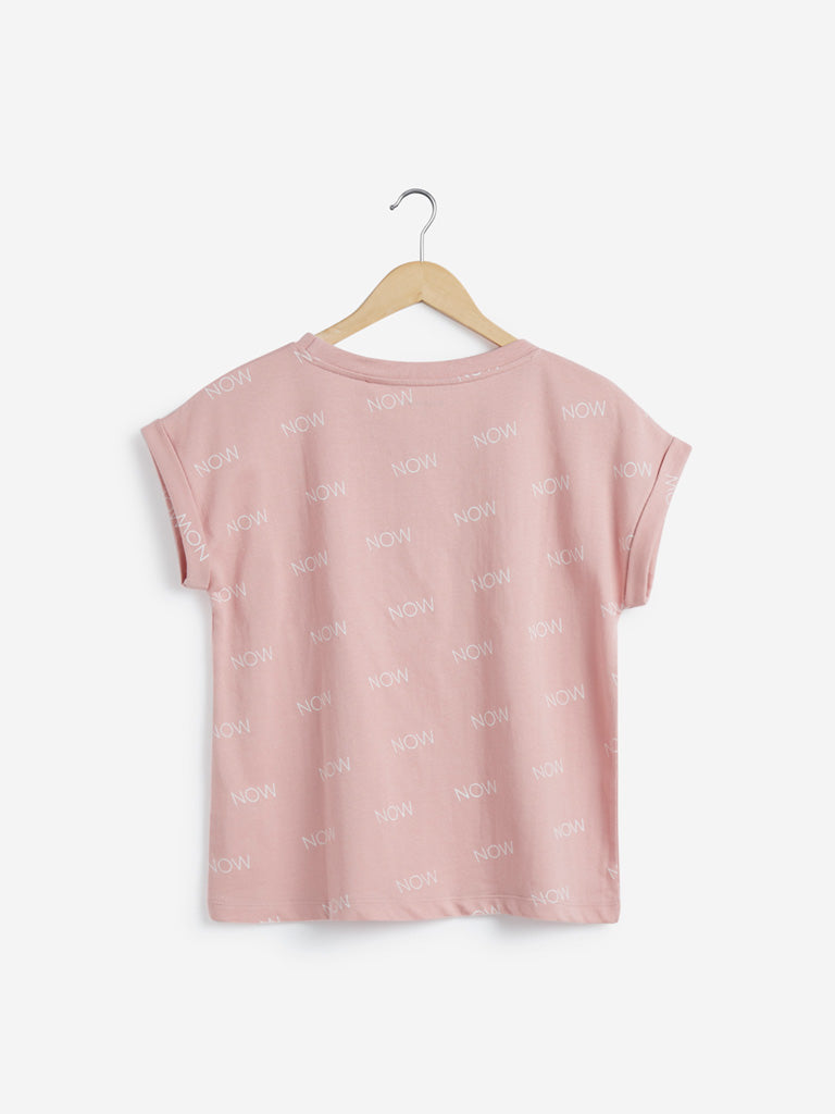 Studiofit Dusty Pink Text Print T-Shirt