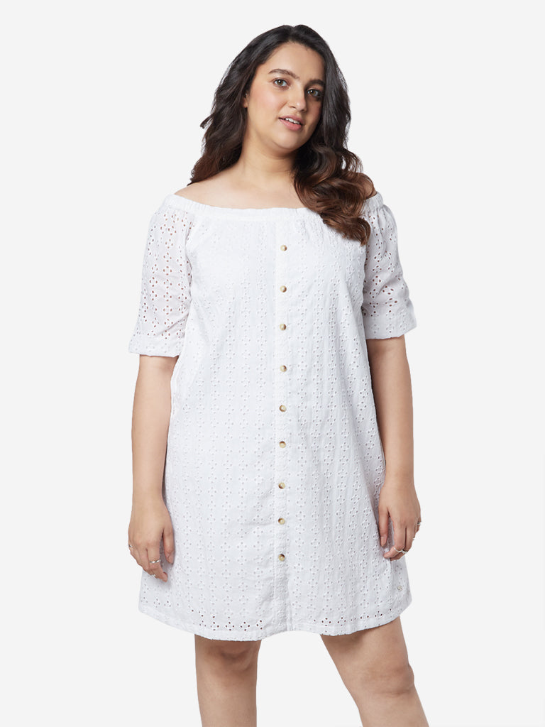 Sassy Soda Curves White Cut-Out Flora Dress
