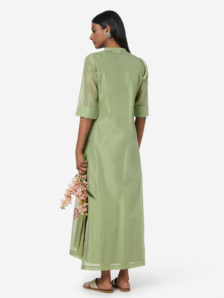 Vark Green Tiered Maxi Dress with Jacket Set