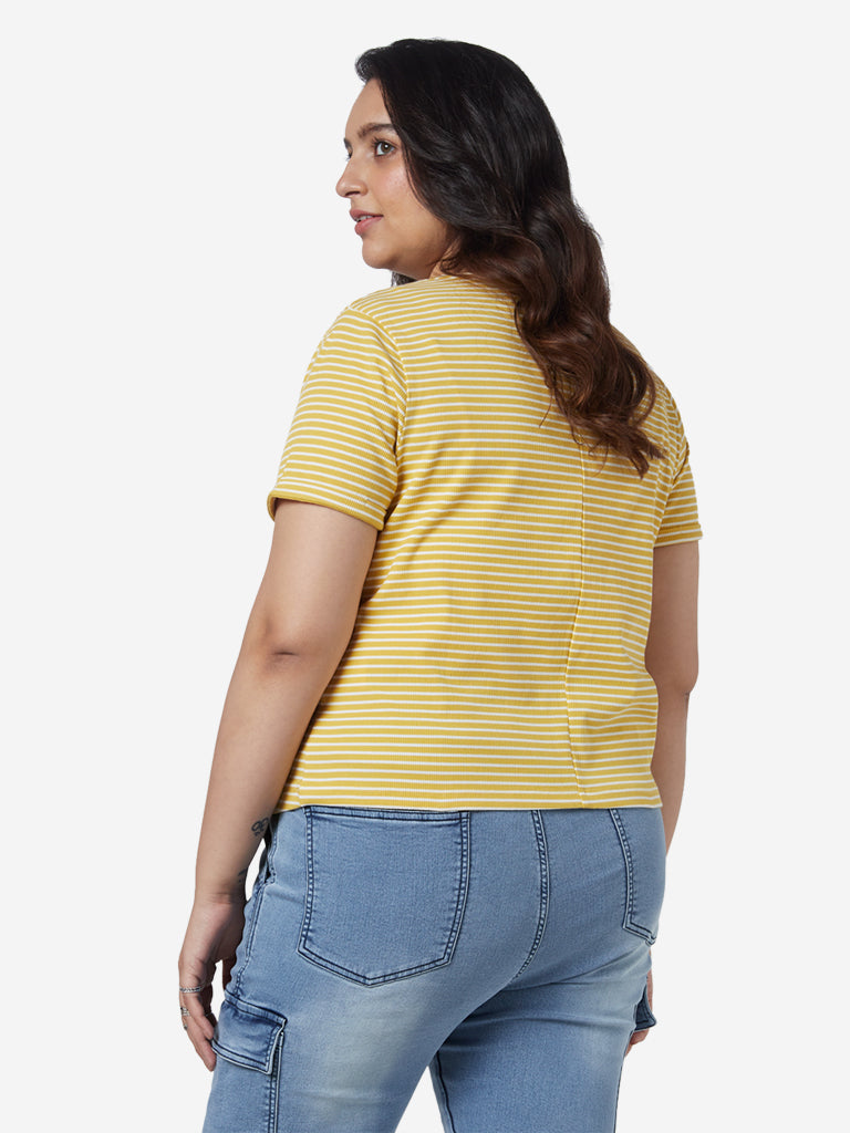 Sassy Soda Curves Mustard Striped Thyme T-Shirt